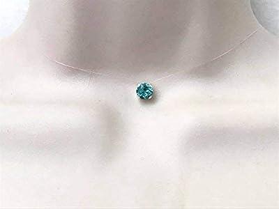 Collier ras du cou strass de swarovski cristal turquoise fil de nylon transparent