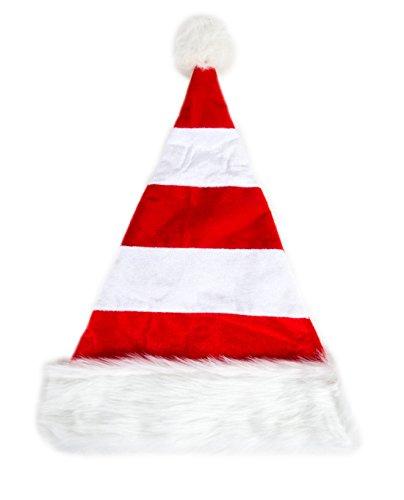 Ca 100 Modelle Weihnachtsmützen Mütze Nikolausmütze Weihnachtsmütze Santa Plüsch Rot Weiß gestreift (Weiße Nikolausmütze)