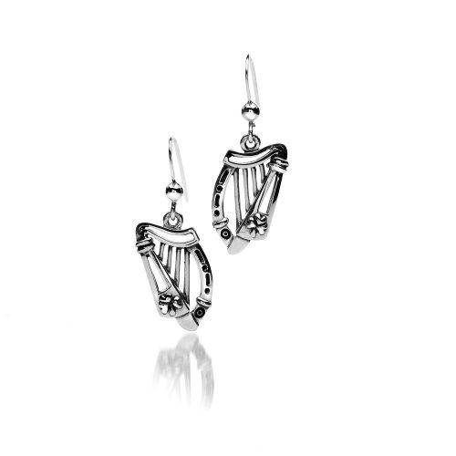 amrock Ohrringe-Sterling Silber Ohrringe offene Design-Harfe & Shamrock Design-15mm Länge ()