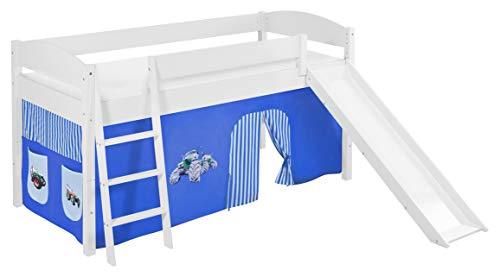 Lilokids Spielbett IDA 4105 Trecker Blau-Teilbares Systemhochbett weiß-mit Rutsche und Vorhang Kinderbett Holz 208 x 220 x 113 cm