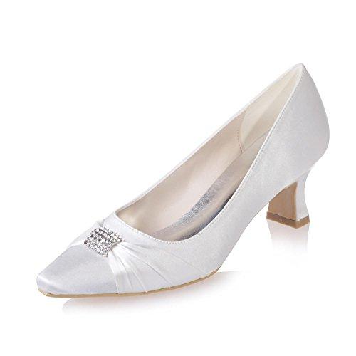 L @ yc Pointue Toe Chaussures De Mariage Femme Bureau / / Stretch Satin De Mariage / Soirée Porter Partie Professionnelle / 0723-03 Blanc