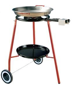 "La Paella Cooking Kit on Wheels with G400 Burner, Tripod and 18"" Carbon Steel Pan, Medium, Black by La Paella"