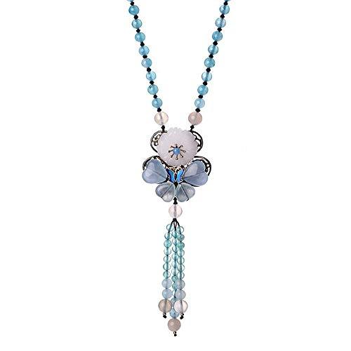QIYUEQI Damen Halskette Ms Anhnger Pullover Kette lange Anhänger Jade Ornamente Blau Wandhalterung Modeschmuck Geschenk Schmuck