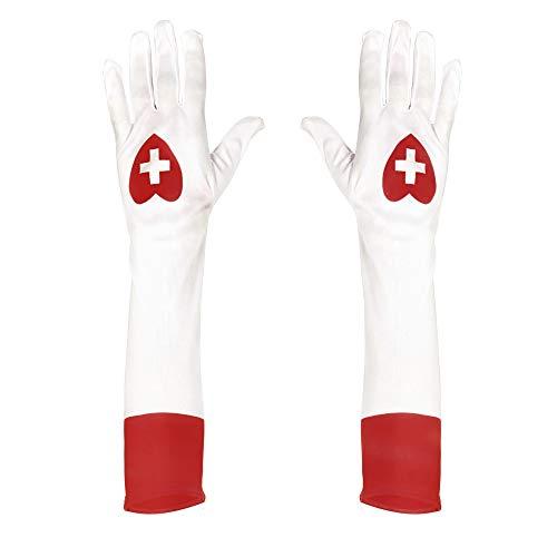 Widmann 02423 - Lange Handschuhe weiß, für Krankenschwester (Krankenschwester Kostüm Handschuhe)