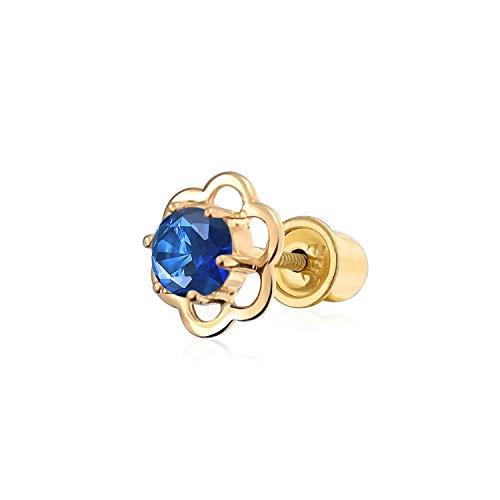 Aqua Blau Cubic Zirkonia Helix Knorpel Ohr Piercing Daith CZ Blume 1 Stück Ohrstecker Echte 14K Gold Screwback