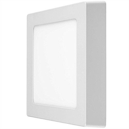 LUMIRA 12W LED Panel Quadratisch 17x17cm Aufputz-Strahler Decken-Lampe Decken-Leuchte 12 Watt Entspricht 100W Rahmenfarbe Weiß inkl. Befestigungsmaterial und Trafo 900 Lumen 4000 Kelvin Neutralweiß