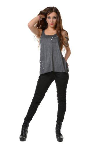 Feentaub Sommershirt Damen Top locker und luftig mit Aufdruck Feenstaub Elfe, Sommerkleidung Grau Weiß