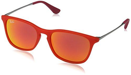 Ray Ban Unisex Sonnenbrille Chris Junior, Gr. Medium (Herstellergröße: 49), Mehrfarbig (Gestell: Rot/Gunmetal, Gläser: Rot verspiegelt 70106Q)