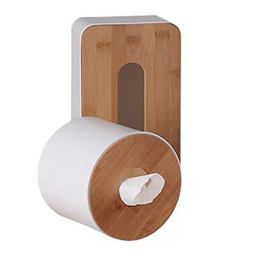 Caja de pañuelos de bambú, de madera natural, rectangular, con parte inferior extraíble y dispensador de servilletas, para papel de seda estándar y cajas Kleenex redondo As Picture Show