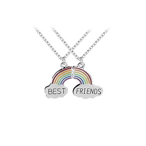 MJARTORIA Damen Mädchen Halskette Silber Farbe Essen Regenbogen Eule Schmuck Anhänger mit Gravur Freundschaftsketten 2 Stück (Regenbogen)