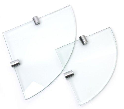 Ripiani ad angolo in vetro temperato, 6 mm, confezione da 2, 150 mm e 200 mm