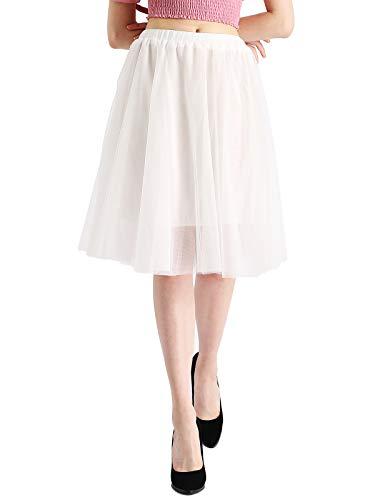 Beluring Kurze Röcke Damen A-Linie Knie Länge Blase Krinoline Unterröcke Tüll Rock weiß Große Größen