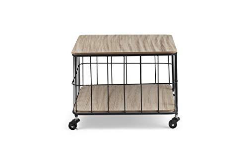 LIFA LIVING® Designer Couchtisch Möbel, 2 Ablage Beistelltisch, Schwarz Metall mit Holz Tischplatte, 51 x 51 x 33 cm, dekorativer Tisch