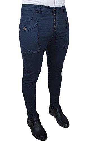 Pantaloni uomo Cargo blu scuro cotone jeans elasticizzato chiusura bottorni slim fit casual (Frontale Jeans Aderenti)