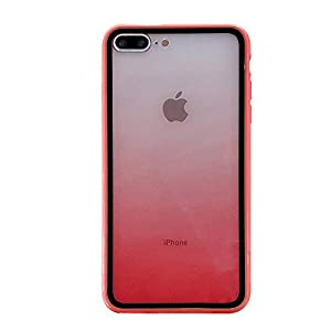 Fantasyqi Handyhülle Kompatibel mit iPhone 7 Plus/iPhone 8 Plus Hülle Gehärtetes Glas Rückseite mit TPU Rahmen Transparent Bumper Silikon Handyhülle Farbmischungdesign Pastell