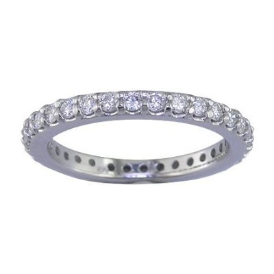 14K White Gold Diamond Eternity Band (1 CT ; Round Cut) In Size O