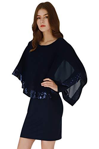 YMING Damen Chiffon Kleid Langarmkleid Bleistiftkleid Elegante Fifurbetontes Kleid Übergröße,Blau,XXL/DE 44-46