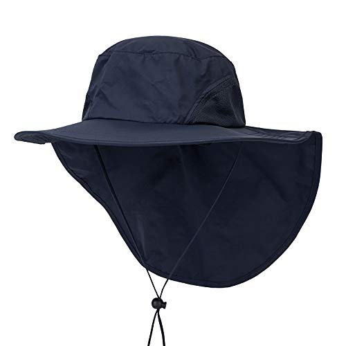 Outdoor Angeln Hut mit Neck Flap Cover breiter Krempe Sun Cap für Männer Frauen Jagd, Wandern, Camping, Bootfahren,Royalblue -