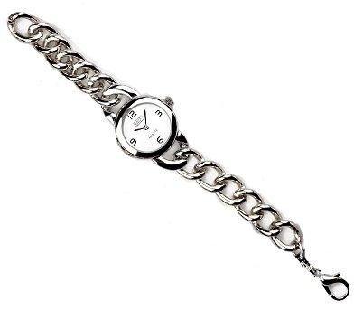 Eton señoras Silvertone Dial, Chunky Curb cadena pulsera correa reloj 3192j