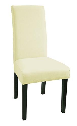 SCHEFFLER-HOME Mia Stuhlhussen 2 Stück, Stretch-Hussen Stuhl-Bezug bi-elastische Schutz-Husse, moderne Abdeckung mit Gummiband, Spannbezug - Natur