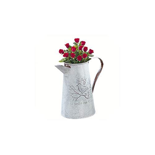 Kion Pasue vases Verzinkte Metall Eisen-Blumen-Garten Shabby Vase Topf-Fass-Pflanzer-Dekor-Desktop-Blumen-Vase, Oberer Teil