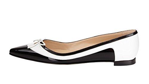 Guoar Damen Flache Große Größe Spitzschuh Bowknot Glitzer England Stil Ballerinas Weiß