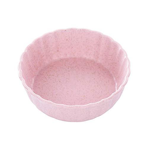 WARMTOWE Mini-Gewürzschale mit Weizenstrohhalm, solide, würzige Soßenschale, Gewürzschale, Salz, Snack, Kleiner Teller rosa Rose Round