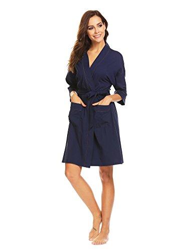 ADOME Damen Morgenmantel V-Ausschnitt mit Zwei Tasche kurzform Bademantel mit Gürtel Nachthemd Nachtwäsche Dunkelblau