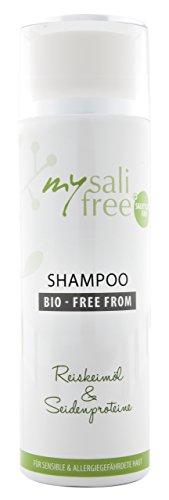 mysalifree BIO SHAMPOO, Naturkosmetik Feuchtigkeitsshampoo für sensible Kopfhaut, mit Reiskeimöl und Lezithin, 200ml, 100% zertifizierte Biokosmetik, weltweit einzigartig, BIO + FREE FROM