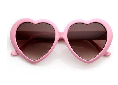 Asremit Heart-Shaped Pfirsich Herz Sonnenbrille Brille