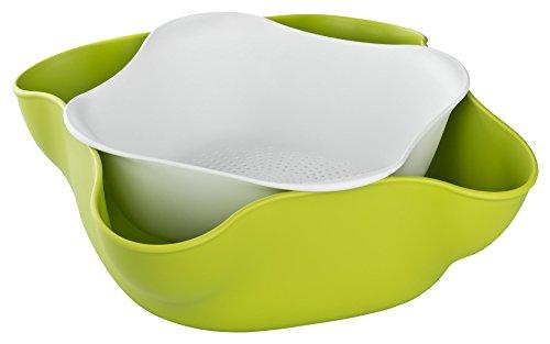 Lot de 2 bols et égouttoirs pour fruits, noix, friandises et salades. Égouttoir / Nids de banc d'essai à l'intérieur du grand bol afin de faciliter le nettoyage et le service.