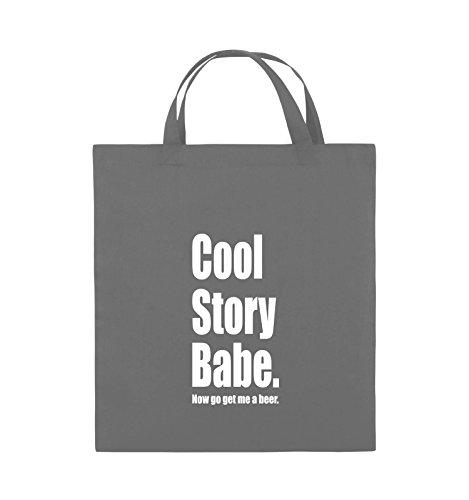 Comedy Bags - Cool Story Babe now get me a beer - Jutebeutel - kurze Henkel - 38x42cm - Farbe: Schwarz / Pink Dunkelgrau / Weiss