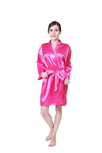 keynis Damen Morgenmantel Bademantel Kurz Kimono Robe Dessous Nachtwäsche (L/XL, Rosa) (Roben Shopping-kimono)