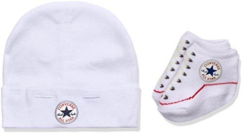 Converse hat and bootie set, multicolore (white), 0/6 mesi (taglia produttore: 0-6m) unisex-bimbi