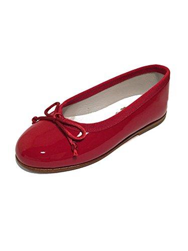 Mädchen Ballerinas Flats Leder extra soft-Made in Spain Rot