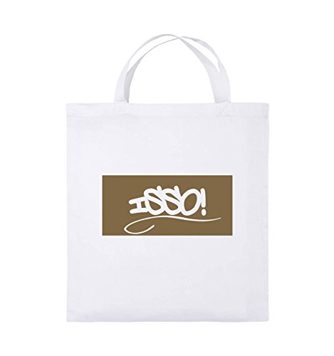 Comedy Bags - ISSO NEGATIV - Jutebeutel - kurze Henkel - 38x42cm - Farbe: Schwarz / Pink Weiss / Hellbraun