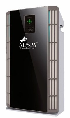 AIRSPA with device 17 HEPA PM2.5 Display and Remote Control Air Purifier with 6 Stage Filtration (Black)