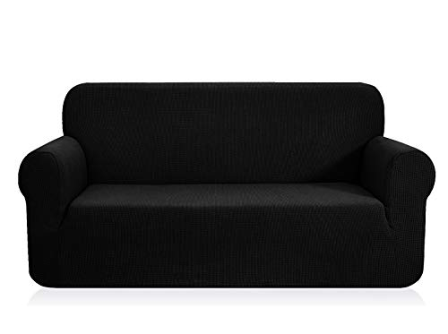 CHUN YI 1-Stück Jacquard Sofaüberwurf, Sofaüberzug, Sofahusse, Sofabezug für Sofa, Couch, Sessel, mehrere Farben (2 Sitzer, Schwarz)
