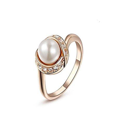 GYJUN 18K rosa/weiß Gold plattiert Perlenring für Frauen mit österreichischen Crystal Top Fashion , 6