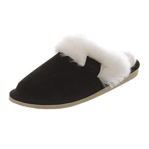 Hollert Damen Lammfell Hausschuhe Malibu Puschen Fellschuhe aus echten Merino Lammfell kuschelig warm versch. Farben Größe EUR 40, Farbe Schwarz