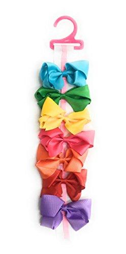 7 Filles Rouge Rose Jaune Vert Bleu Violet Big Cheveux Nœud avec ensemble de nœud support et sac cadeau – Ruban gros grain Clips