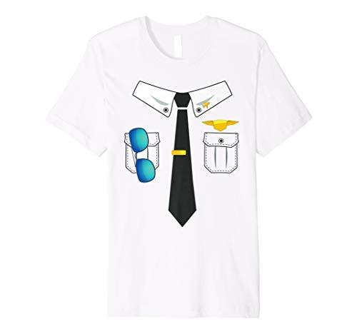 Pilot Uniform Kostüm T-Shirt Lustig Halloween Shirt (Pilot Uniform Kostüm)