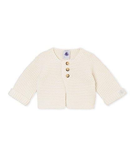 Baumwolle Wolle Strickjacke (Petit Bateau Unisex Baby Cardigan_4386105 Strickjacke, Weiß (Marshmallow 05), 86 (Herstellergröße: 18M/81cm))