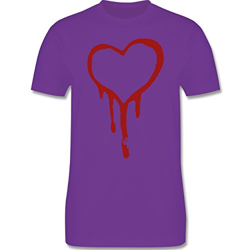Symbole - Blutendes Herz - bloody heart - Herren Premium T-Shirt Lila