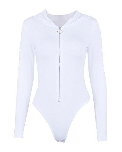 Donna corto tuta con cappuccio cerniera body top tuta elegante manica lunga bianco m