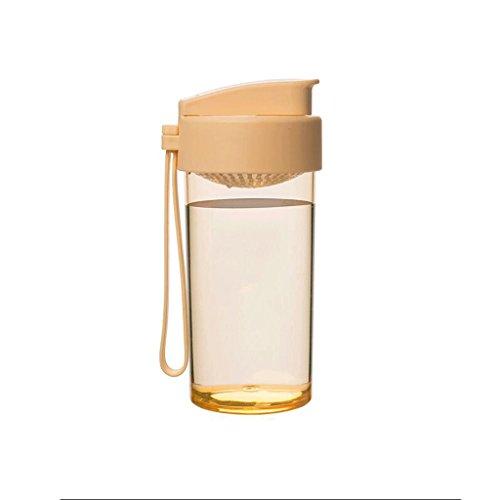 ZHAOJING Kreative Studenten Plastikbecher Tragbare Handschale Nette Transparente Abdeckung Mit Einfachem Tee Sport Dicht Tasse 360 ml ( Farbe : Orange )