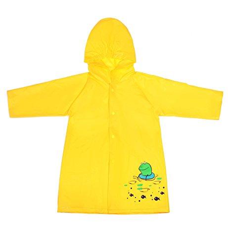 Lorata PVA Poncho Impermeabile da Bambini Mantella Antipioggia Cartoon con Bottone per Ragazzi Ragazze (giallo, L)
