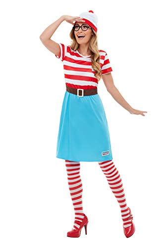 Wally Wenda Where's Kostüm - Smiffys 50281M Offizielles Lizenzprodukt Where e's Wally Wenda-Kostüm, Damen, Rot & Weiß, M - Größe 38-42
