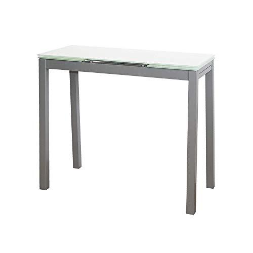 MOMMA HOME Mesa de Cocina Extensible - Modelo Novi - Color Blanco/Plata - Material Cristal Templado/Metal - Medidas 85/135 x 40 x 76 cm