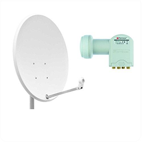Opticum X80 Satellitenschüssel Antenne 80 cm mit Quad LNB LQP-04H stahl lichtgrau (TÜV zertifiziert)